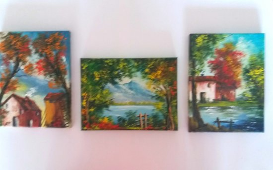 3 pequeños cuadros originales.