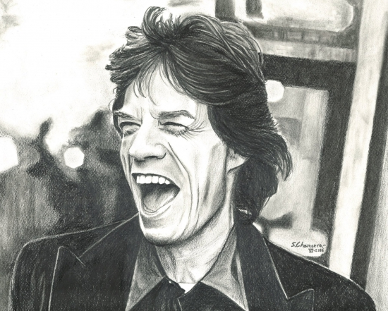 MICK JAGGER, a pencil portrait