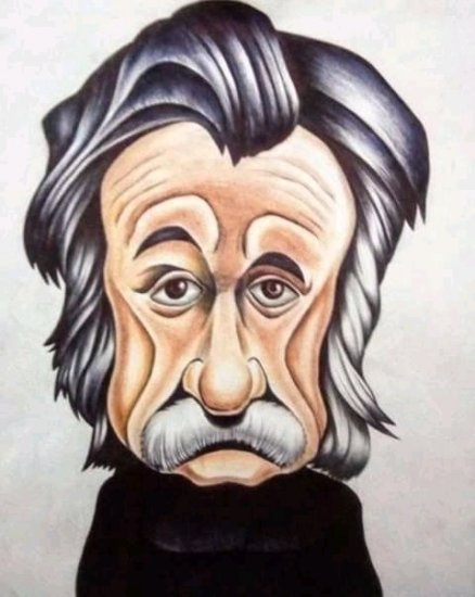 Caricatura del famoso fisco de Albert Einstein