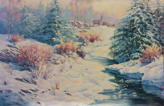 SNOWY LANDSCAPE WITH STREAM AND DEER