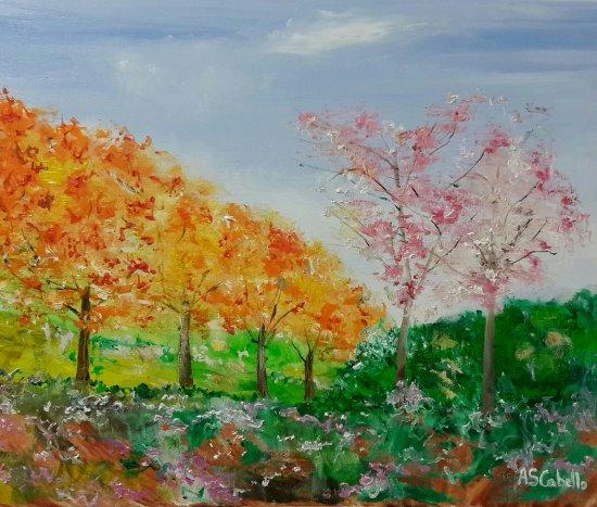 Panorámica del paisaje anaranjado