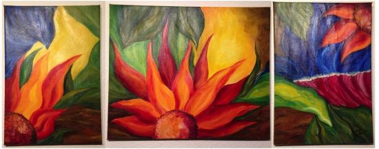 Orange tones floral triptych