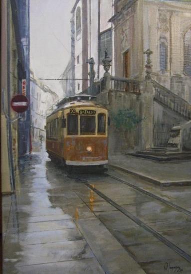Tranvía bajo la lluvia