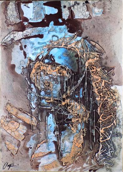2013. Weepy girl, mixed media on canvas. 70X50cm.