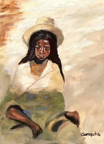 Mujer apoyada en la pared