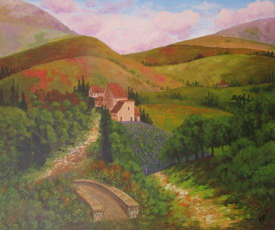 Camino y puente entre colinas