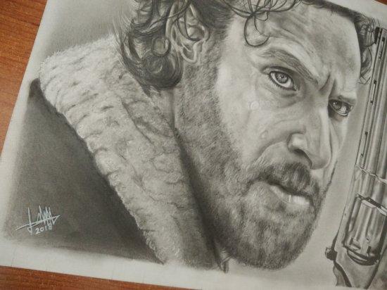 Rick Grimes - Dibujo hecho a lápiz y carboncillo